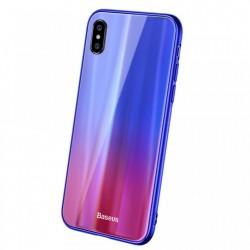 Husa telefon, Baseus Laser Luster, pentru iPhone X, cu margini din silicon si spate din sticla securizata, albastru+rosu