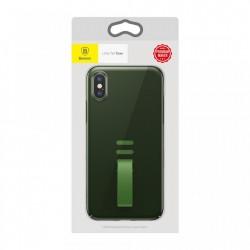 Husa telefon, Baseus Little Tail, cu curea ajustabila din silicon, pentru iPhone XS / X, negru+verde