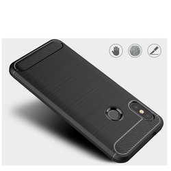 Husa telefon TPU model carbon , Gema Mixt pentru Xiaomi Mi A2 Lite / Redmi 6 Pro , albastra