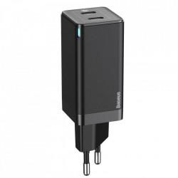 Incarcator priza Baseus GaN PPS 60 W (20 V / 3 A) 2x USB Typ C Quick Charge 3.0 Power Delivery SCP FCP AFC (gallium nitride) black (CCGAN-M01)