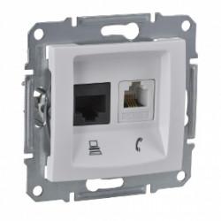 Priza telefon RJ11 + date RJ45 simpla, alb Sedna Schneider SDN5100121 - 1 modul