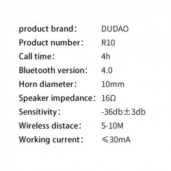 Set auto Dudao 2x încărcător USB 3.4A + casca Bluetooth , negru (R10)