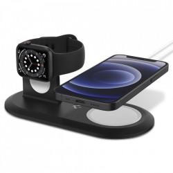 Suport pentru incarcatoare wireless Spigen Magfit Duo Apple Magsafe & Apple Watch Black