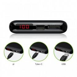 Baterie externa/Power bank mini cu ecran digital , Baseus Mini S , 10000 mAh USB + USB-C PD + Lightning , negru
