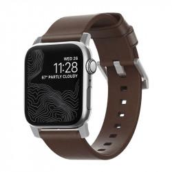 Bratara din piele naturala Nomad , maron/silver- Apple watch Seria 5 si versiunile anterioare, 44/42 mm