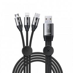 Cablu de date 3 in 1 , Baseus USB - micro USB / Lightning / USB Type C 3.5A 1m black (CAMLT-FX01)