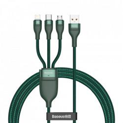Cablu de date Baseus 3in1 USB - Lightning / USB Typ C / micro USB 1,2 m 5 A 480 Mbps 40 W green (CA1T3-G1)