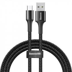 Cablu de date cu lumina LED , USB- Micro USB , Baseus Halo , 1M , negru (CAMGH-B01)