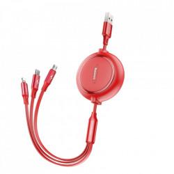 Cablu de date retractabil 3 in 1 , Baseus Baseus Golden Loop 3in1 USB cable - micro USB / Lightning / USB-C 3.5A 35cm - 120cm rosu