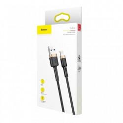 Cablu Lightning pentru iPhone, QC3.0 , 2.4A , 1M, BASEUS Cafule Durable Nylon, negru+auriu