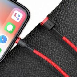 Cablu Lightning pentru iPhone, QC3.0 , 2.4A , 1M, BASEUS Cafule Durable Nylon, rosu