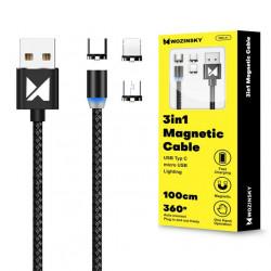 Cablu magnetic Wozinsky USB / micro USB / USB Typ C / Lightning 1m cu lumina LED black (WMC-01)