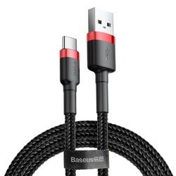 Cablu Type C , QC3.0 , 2.4A , 2M, BASEUS Cafule Durable Nylon, negru+rosu