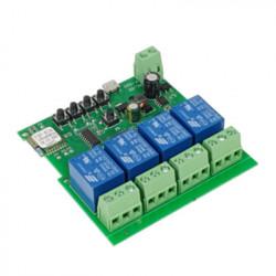 Comutator cu releu inteligent SmartWise 5V-32V cu 4 ganguri, cu contact uscat si comutator momentan, compatibil eWeLink / Sonoff, Wi-Fi + RF (R2)