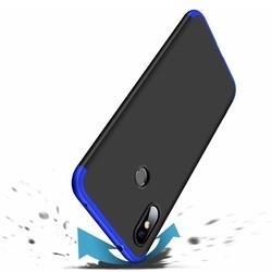Husa 360° Matte Full Protection Gema Mixt pentru Xiaomi Redmi Note 6 Pro (fata + spate ) , negru-albastru