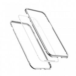 Husa de protectie hibrida din sticla transparenta si rama magnetica, Baseus Magnetite , iPhone XR, contur argintiu