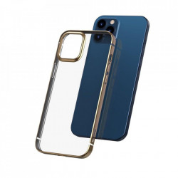 Husa telefon din gel flexibil cu margine lucioasa si metalica, Baseus Shining iPhone 12 Pro / iPhone 12 Golden (ARAPIPH61N-MD0V)