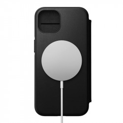 Husa telefon din piele naturala Nomad MagSafe Rugged Folio, negru- iPhone 12 Pro Max