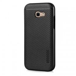 Husa telefon Puky Carbon cu placuta metalica incorporata pentru Samsung Galaxy A3 2017 , neagra
