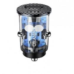 Incarcator auto USAMS CC127 C25 42.5 / 22.5W + PD20W negru transparent