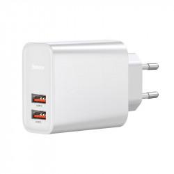 Incarcator Baseus 2x USB, QuickCharge 3.0, 30W - alb