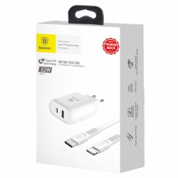 Incarcator priza Baseus Boujure USB-C PD USB 1A 32W + cablu Usb-C la Lightning 1M , alb