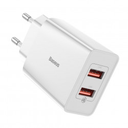 Incarcator priza Baseus fast charge 2x USB 18 W 3 A Quick Charge 3.0 alb (CCFS-V02)