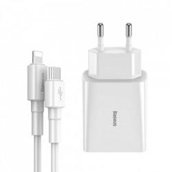 Incarcator priza Baseus USB Type C iesire 18 W 3 A + cablu USB Type C - Lightning 2,4 A 1 m alb (TZCCFS-X02)