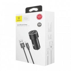 Incarcator telefon auto, Baseus Small Screw, 3.2A, 2 x USB + Cablu lightning 1 metru 2 A, negru