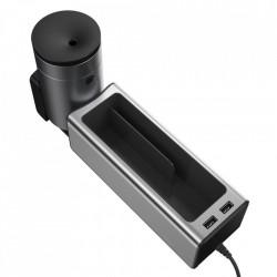 Organizator auto cu 2 porturi USB si suport pahar, Baseus (CRCWH-A0S) , gri