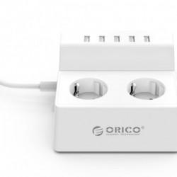 Prelungitor ORICO cu protectie de supratensiune - 2 prize, 5 porturi USB