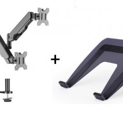 Suport monitor si laptop format din Suport 2 monitoare Gas Spring Dual Arm Blackmount MNT16-2 si Adaptor Laptop 7525