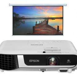 Videoproiector EPSON EB-W51, WXGA 1280 x 800, 4000 lumeni, 16000:1 + Ecran eletric 240 x 150