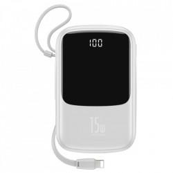 Baterie externa cu afisaj Baseus Q pow 10000mAh 3A 15W 2x USB / USB Typ C + built in cablu Lightning alb (PPQD-B02)