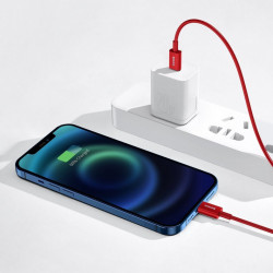 Cablu Baseus Superior USB Typ C - Lightning fast charging data cable Power Delivery 20 W 2m Red (CATLYS-C09)