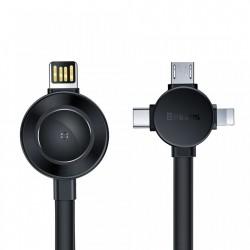 Cablu de date 4 in 1 Baseus Lightning / USB Typ C / micro USB 18cm + incarcator Qi wireless pentru Apple Watch , gri CA1T4-J0G