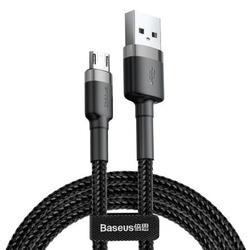 Cablu micro USB QC3.0 2.4A 0,5M, BASEUS Cafule, negru+gri