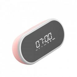 Ceas desteptator cu functie FM Radio, Boxa bluetooth, lampa LED, oglinda, Baseus Encok E09 , roz