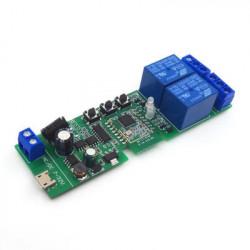 Comutator inteligent cu releu inteligent 5W-32V cu 2 ganguri, cu contact uscat si comutator momentan, Zigbee + RF