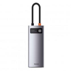 Hub 8in1 Baseus Metal Gleam Series, USB-C la 3x USB 3.0 + HDMI + USB-C PD + Ethernet RJ45 + microSD / SD