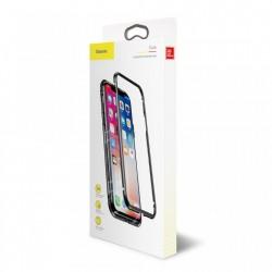 Husa de protectie hibrida din sticla transparenta si rama magnetica, Baseus Magnetite , iPhone XS / X, contur negru