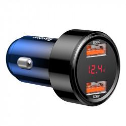 Incarcator auto 2x USB QC 3.0 45W Baseus Magic , albastru