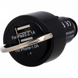 Incarcator auto universal 2 x USB 2.1A/1A - negru