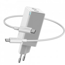 Incarcator Baseus 60W, 20V / 3A, 2x Type-C la Type-C, functie Quick Charge 3.0 - alb