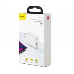 Incarcator retea Baseus Speed PPS Quick , C+U 30W EU USB / USB Type C PD Quick Charge 3.0 QC3.0 , alb
