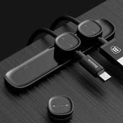 Organizator/Suport cabluri telefon cu banda dublu adeziva , Baseus Peas Magnetic , negru