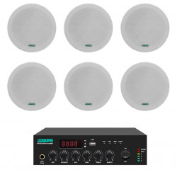Pachet Sonorizare 60W de tavan, FM+USB+Bluetooth, DSPPA MP60UB+6xDSP5011