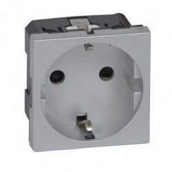 Priza 2P+T, protectie mecanica, aluminiu Legrand Mozaic 079213