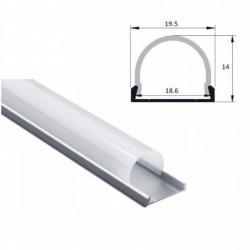 Profil banda LED, convex, montaj aplicat, aluminiu, 2 m, 19.5x14 mm