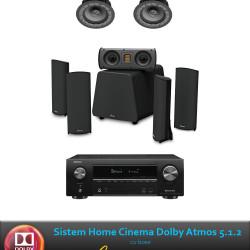 Sistem complet Dolby Atmos 5.1.2 cu GOLDENEAR Supercinema 3, Invisa 525 si receiver Denon AVR-X1600H